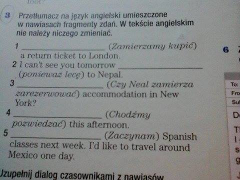 Przetłumacz na język angielski umieszczone w nawiasach