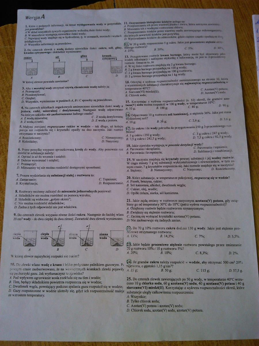 test chemia woda i roztwory wodne
