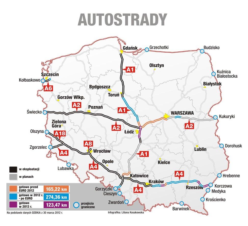 Wskaz Przebieg Autostrad W Polsce Brainly Pl