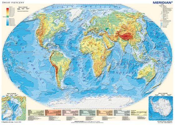 Na podstawie mapy fizycznej świata napisz, które oceany oblewają ...