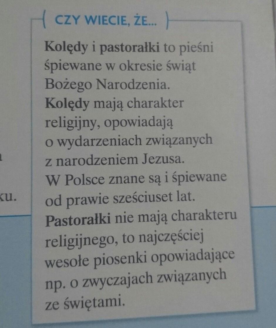 przeczytaj informacje o kolędach i pastoralkach napisz czym się różnią -  Brainly.pl