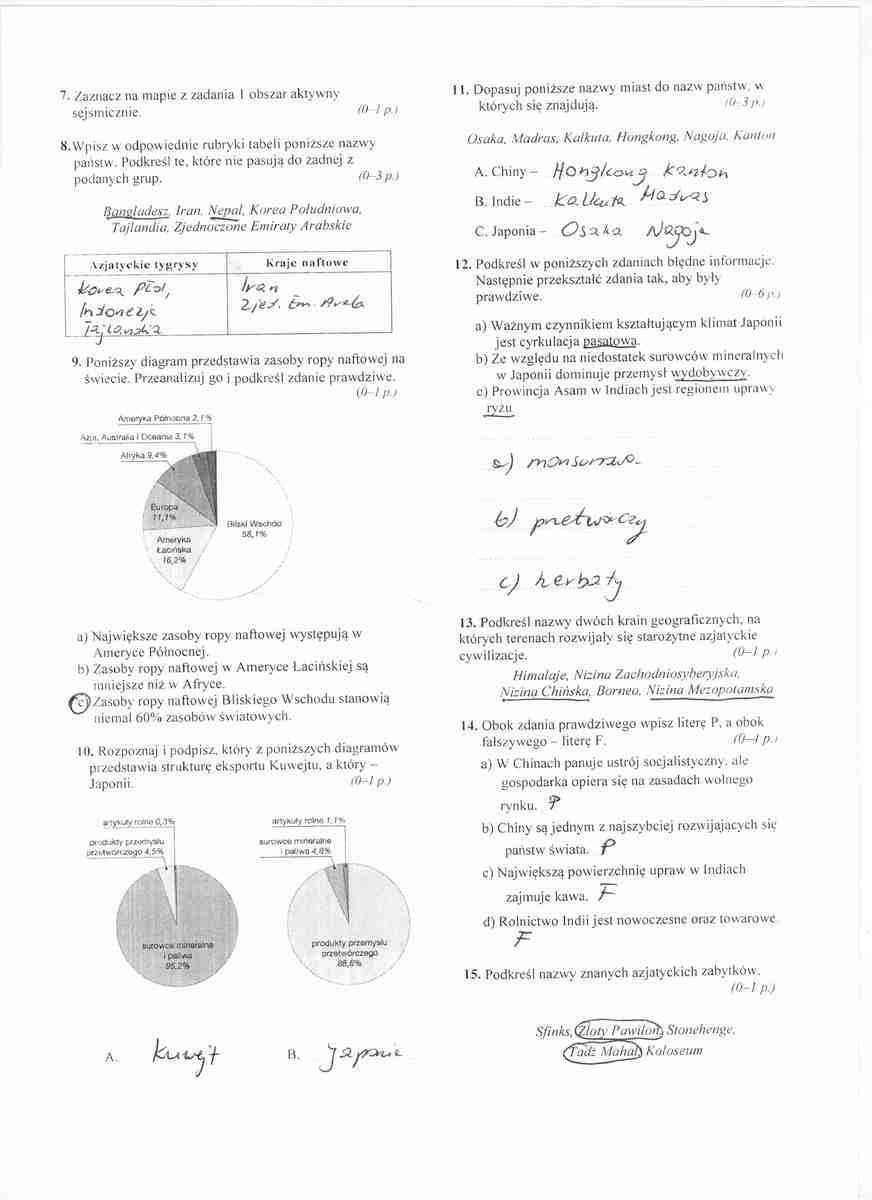 sprawdzian geografia klasa 8 azja pdf