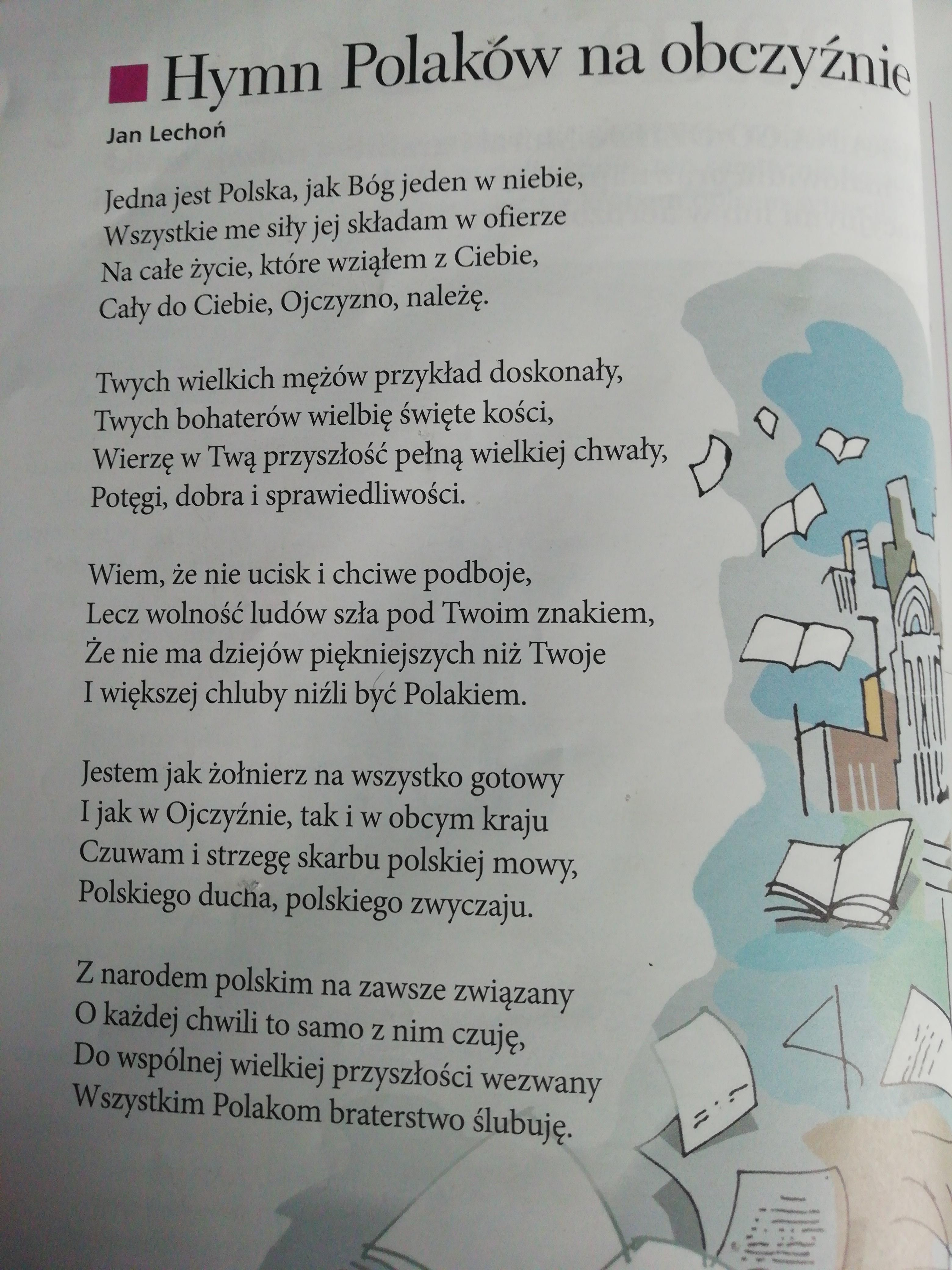 Z Wiersza Hymn Polaków Na Obczyźnie Autorstwa Jana