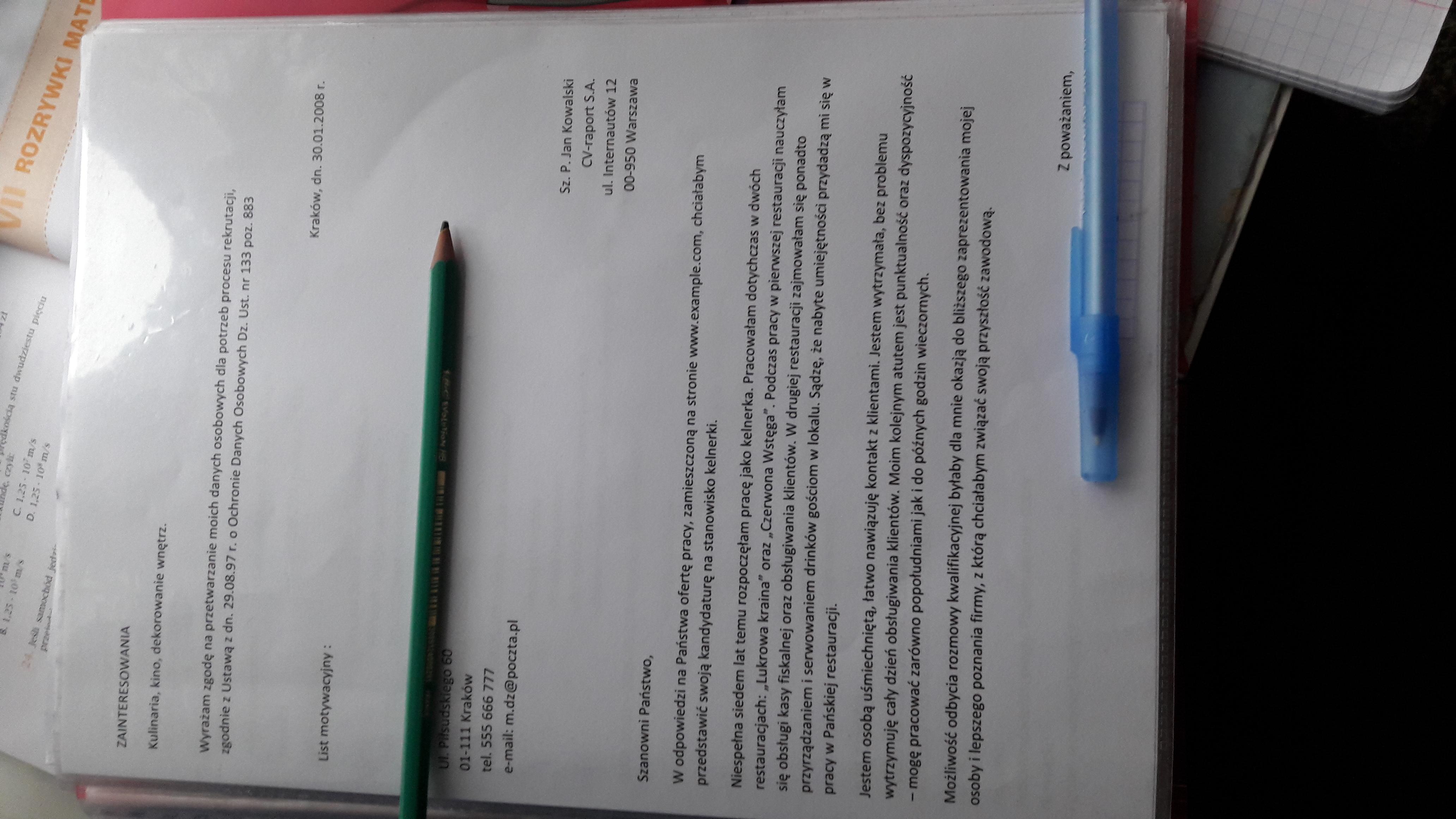 Napisz List Motywacyjny Podanoe Do Szkoly Technikum Reklamy