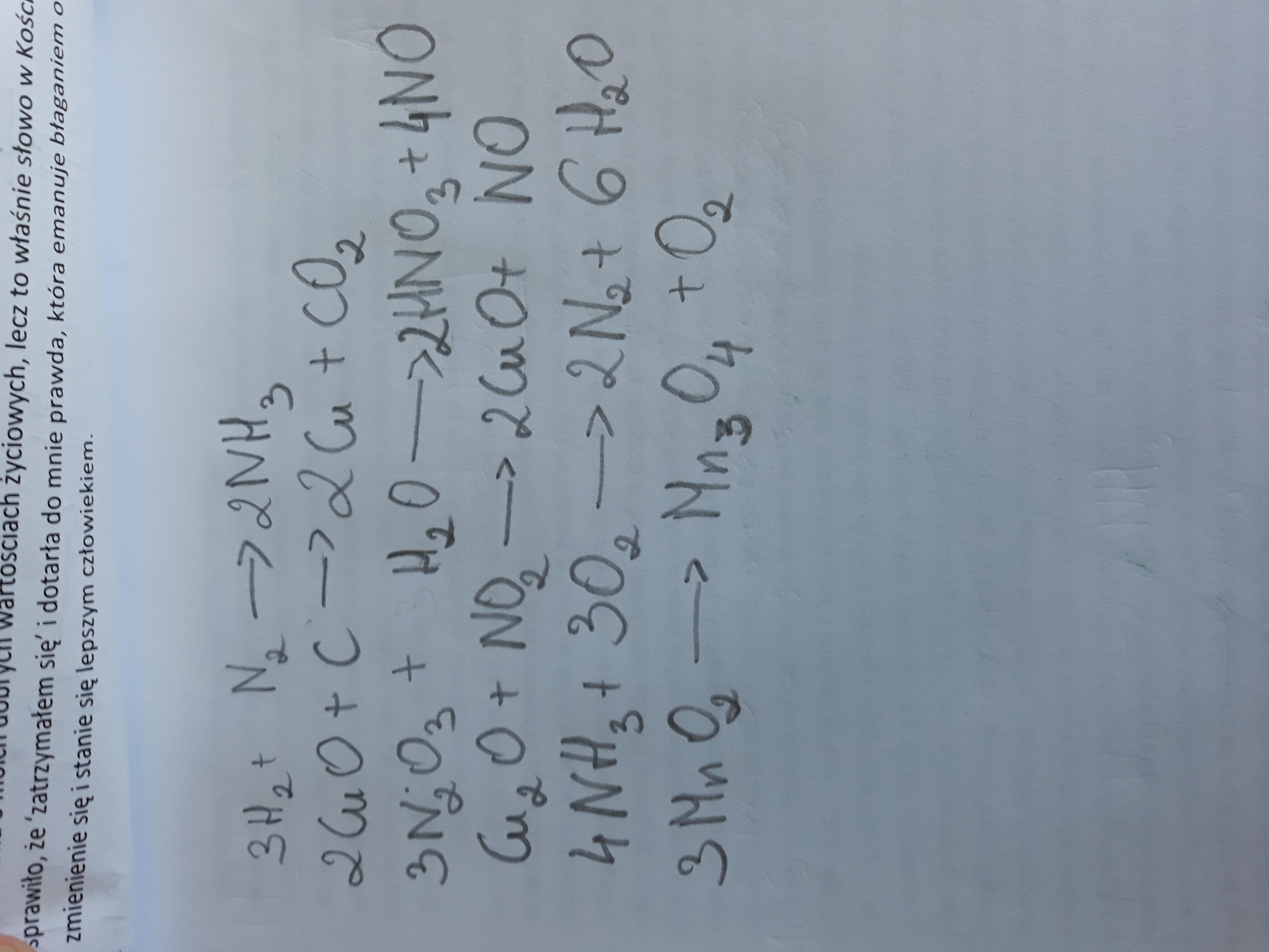 Dobierz współczynniki stechiometryczne w podanych ...