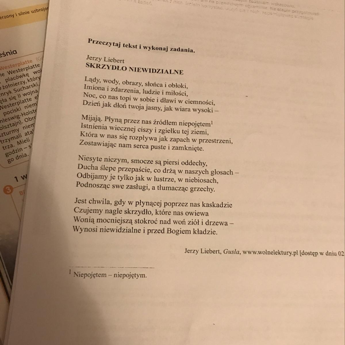 Wiersz Jerzego Lieberta Skrzydło Niewidzialne Zawiera
