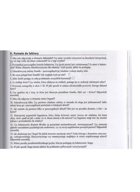 Zadania W Załączniku Wszystkie Pytania Do Lektury Tango