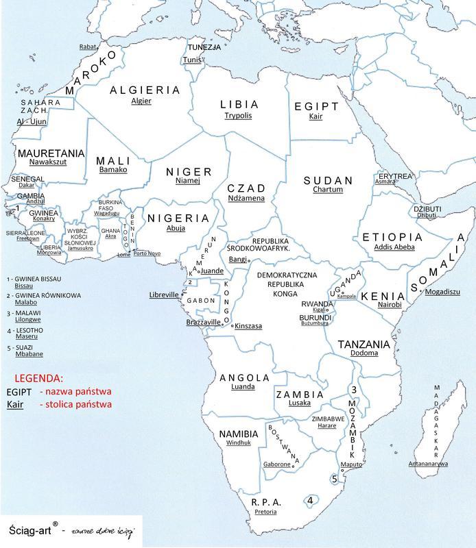 Mapa Konturowa Afryki Dajcie Mapke Z Juz Zaznaczonymi Panstwami I
