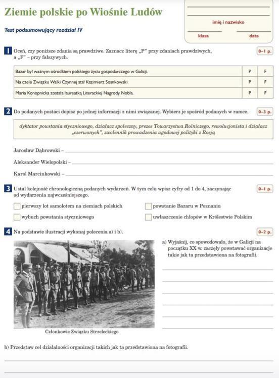 ziemie polskie po wiośnie ludów sprawdzian pdf