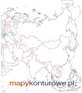 Azja Mapa Scienna Konturowa Do Cwiczen