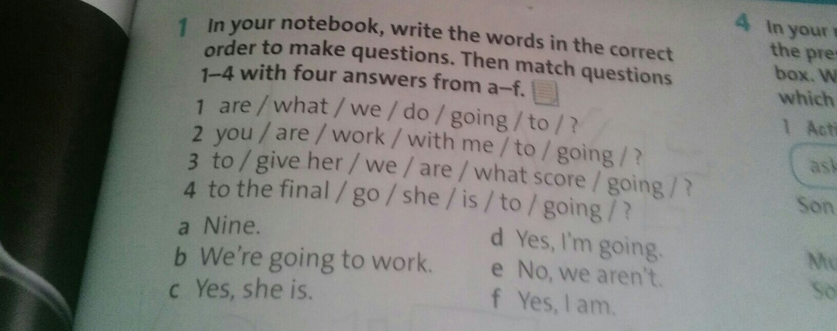 In your notebook, write the words in the correct order to