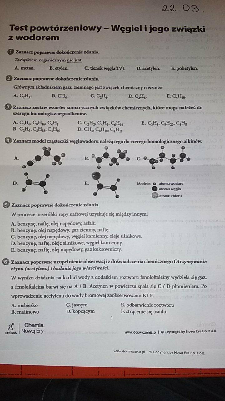 Ogromny Rozwiąż testy z chemii - Brainly.pl YO26
