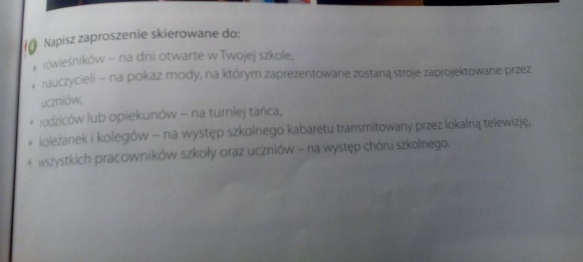 Na Jutro Polski Wybierz 3 Z Poniższych Tematów I Napisz Zaproszenie